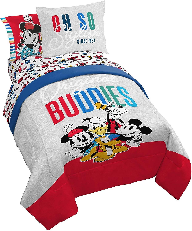 Jay Franco Disney Sensational 6 Buddies 7 Piece Queen Bed Set - Includes Comforter & Sheet Set Bedding - Super Soft Fade Resistant Microfiber