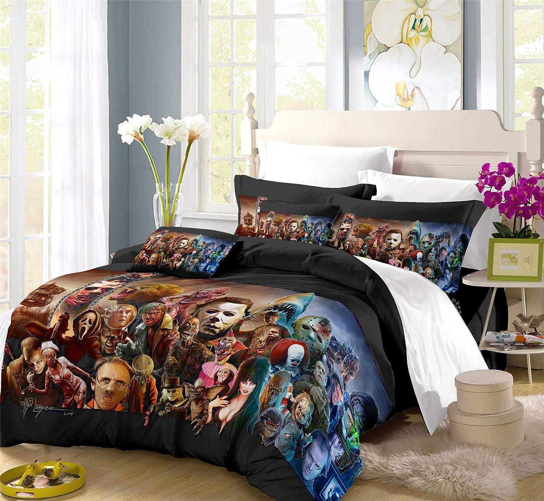 Earendel Horror Movie Duvet Cover Set Scary Dark Terror Killer Deco Bedding Horrible Halloween Bed Sets 3/4 PCS Quilt Covers/Sheets/Pillowcases, Twin/Full/Queen/King Size