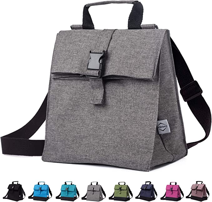 WISHBAX Insulated Lunch Bags for Women - Adult Lunch Box W/ Shoulder Strap, Womens Lunch Bags for Work Insulated - Portable Small Lunch Bag And Lunch Cooler Bag - Mens Lunch Box (Dark Gray)