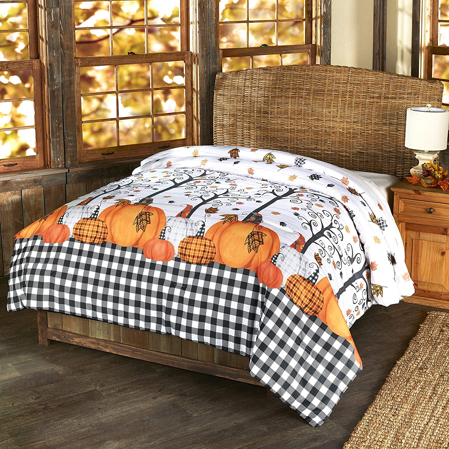 The Lakeside Collection Plaid Pumpkin Decorative Harvest Season Bed Comforter - Full/Queen