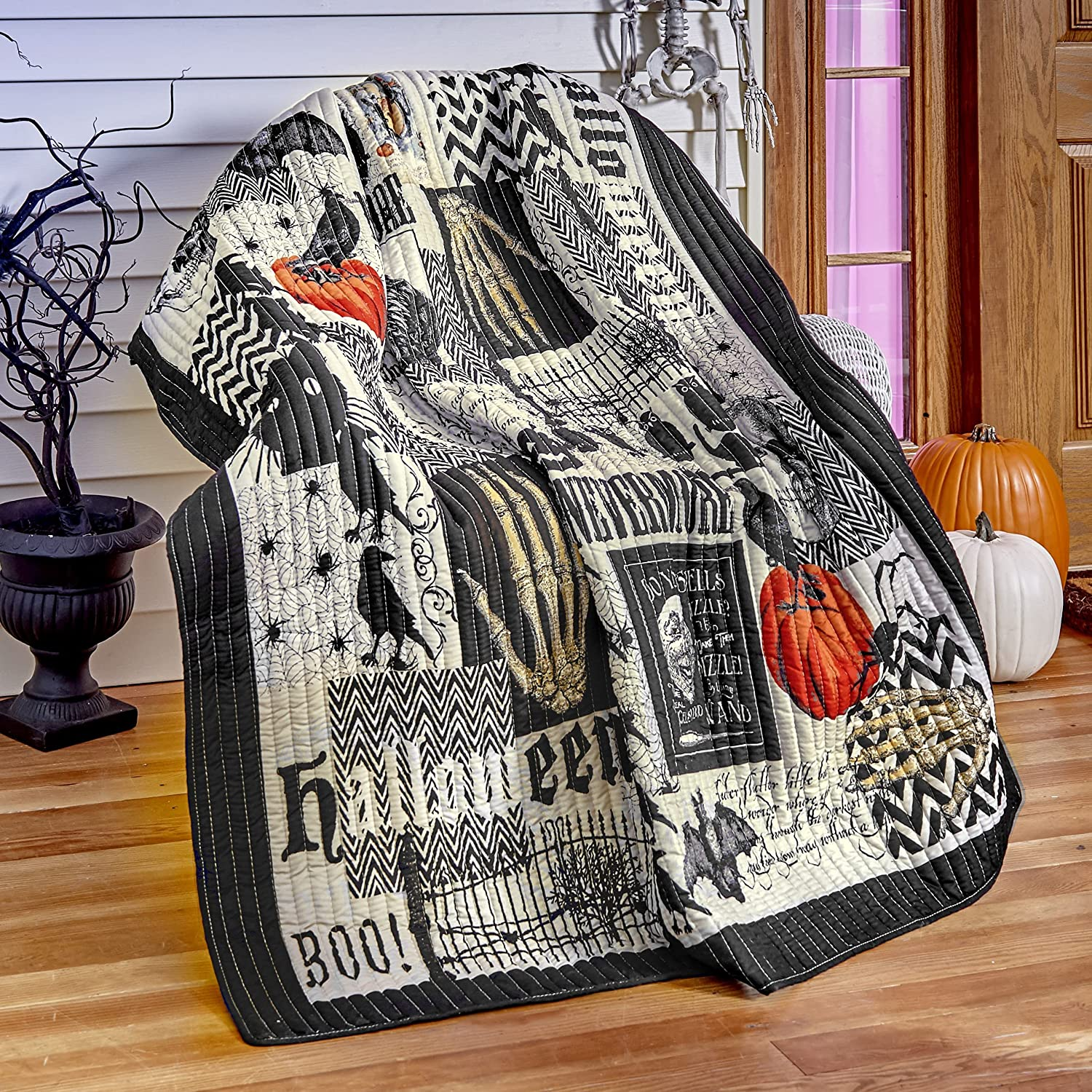 The Lakeside Collection Nevermore Quilted Halloween Throw